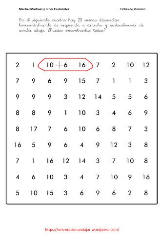 Fichas para mejorar la atención; Sopas matemáticas -Orientacion Andujar
