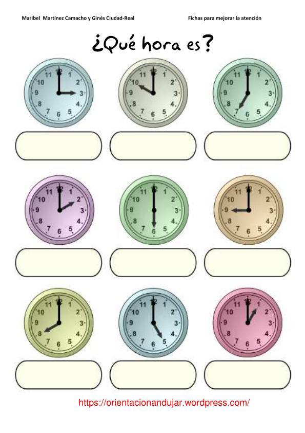 Fichas atenci�n; �Qu� Hora es? -Orientacion Andujar