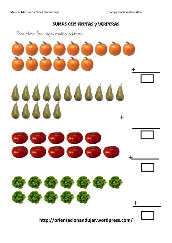Competencia matemtica sumas con frutas y verduras Orientacion