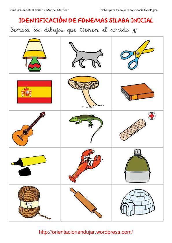 Identificación de fonemas sílaba inicial