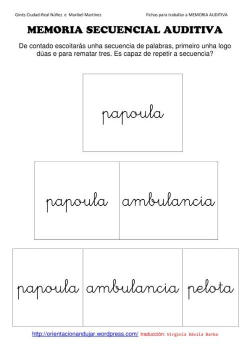 memoria auditiva en gallego