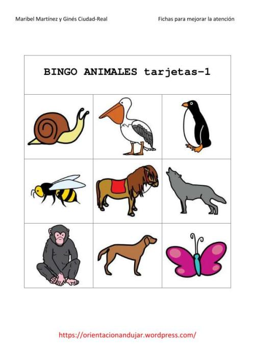 tarjeta bingo animales
