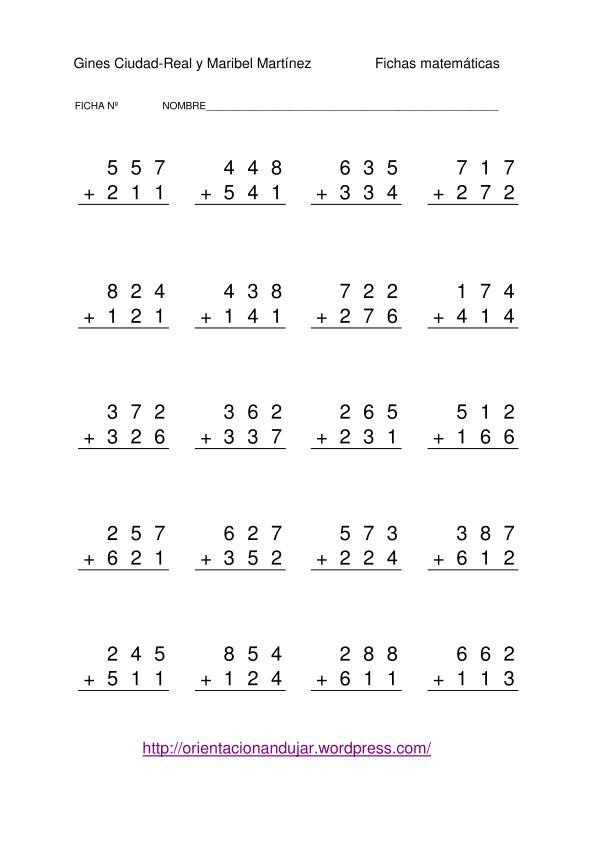 Restas de números de tres cifras sin llevada 1000 fichas