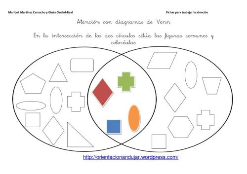Diagramas de Venn; Fichas de Atención -Orientacion Andujar