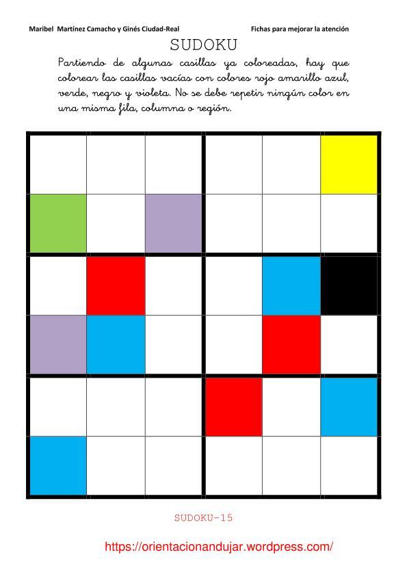Sudokus de colores de 6x6 fichas de atenci n orientacion andujar - Colores para la concentracion ...