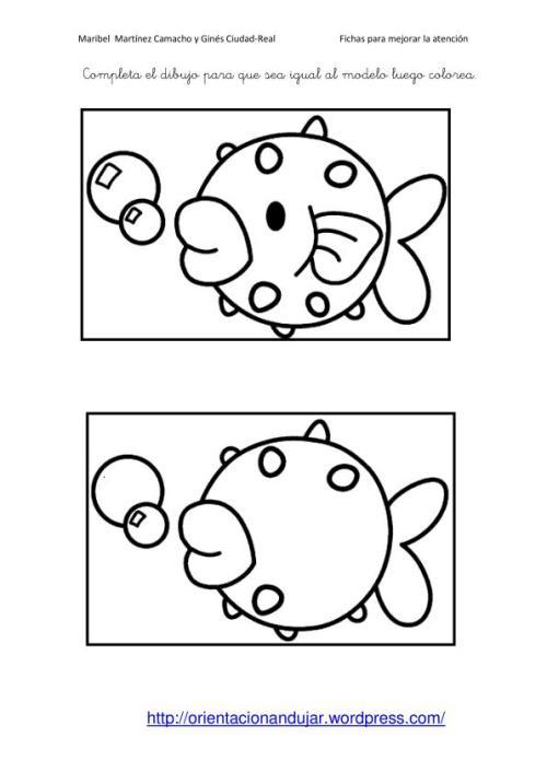 Fichas Atencion Completa El Dibujo Igual Al Modelo Orientacion Andujar