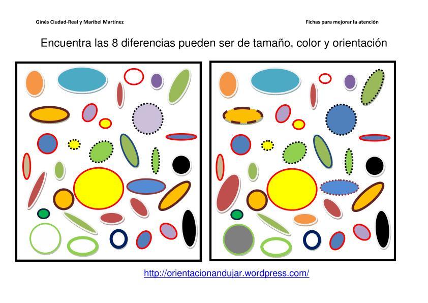 Encuentra Diferencias entre conjuntos orientación color y tamaño ...
