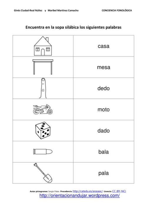 Conciencia fonológica; Sopas de letras silábicas y plantilla ...
