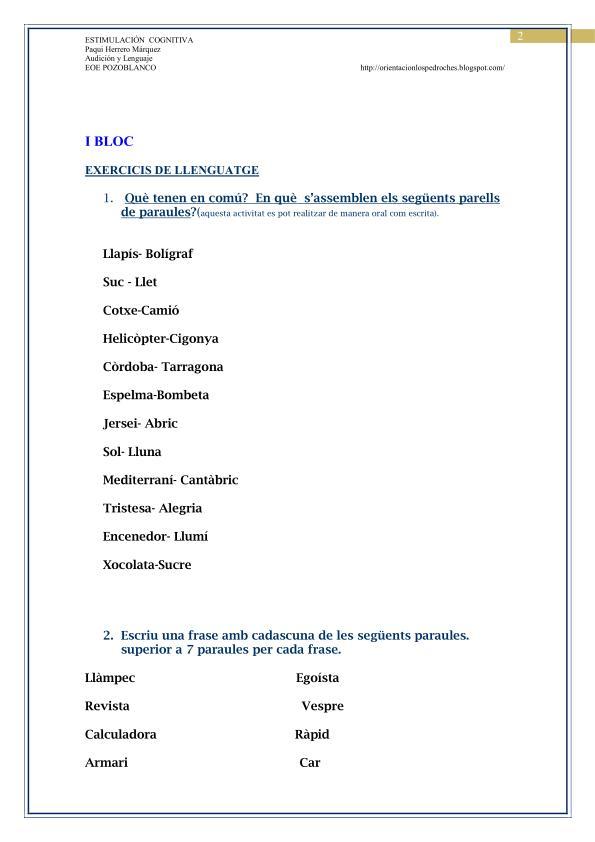 Actividades De Estimulación Cognitiva En Catalán Planeta