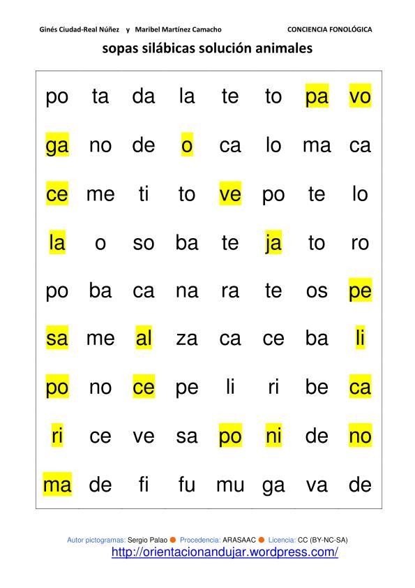Conciencia fonológica; Sopas de letras silábicas animales y ...