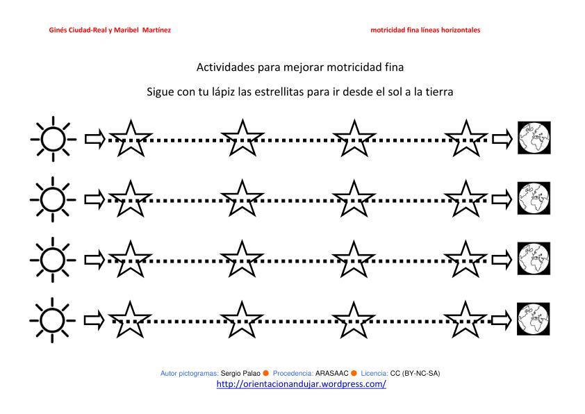 Motricidad fina ideal para alumnos con TGD lineas horizontales