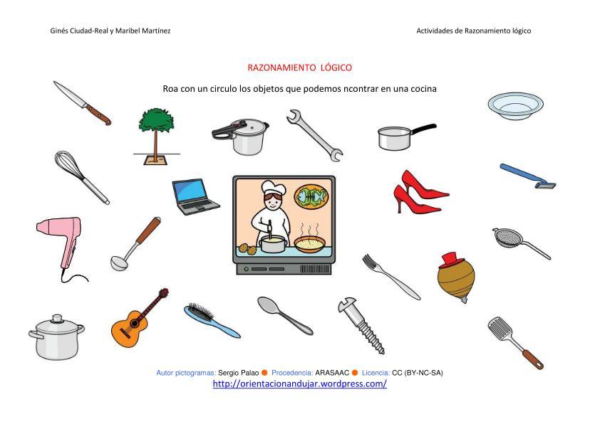 Razonamiento l gico categorizar y agrupar cuatro nuevas for Objetos de cocina