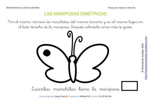 Insectos simétricos; Mariposas. Materiales para trabajar la Atención ...