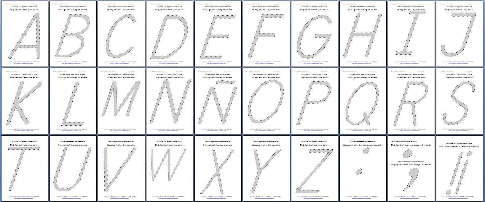 Cuarta colección de abecedarios punteados script y cursiva en ...
