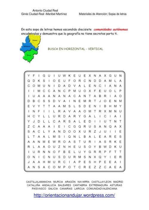 Sopas de letras Comunidades Autónomas, Rios españoles, sierras y ...