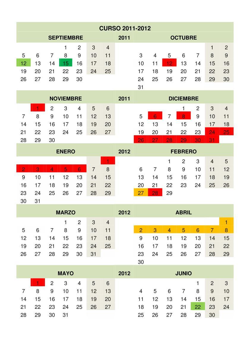 Calendario escolar Curso 2011-2012 editable. Calendarios escolares ...