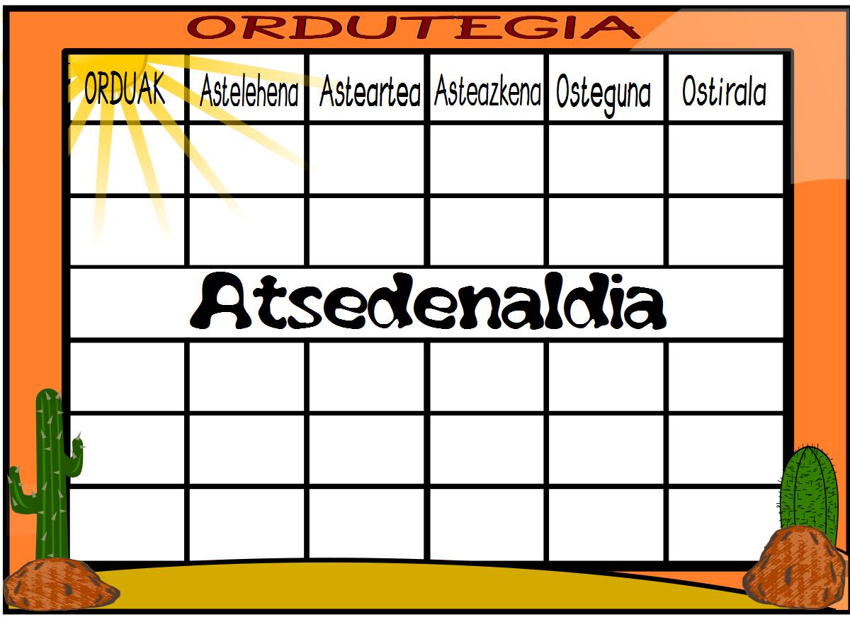 Nuevas plantillas de horarios, el desierto. También en Catalán ...