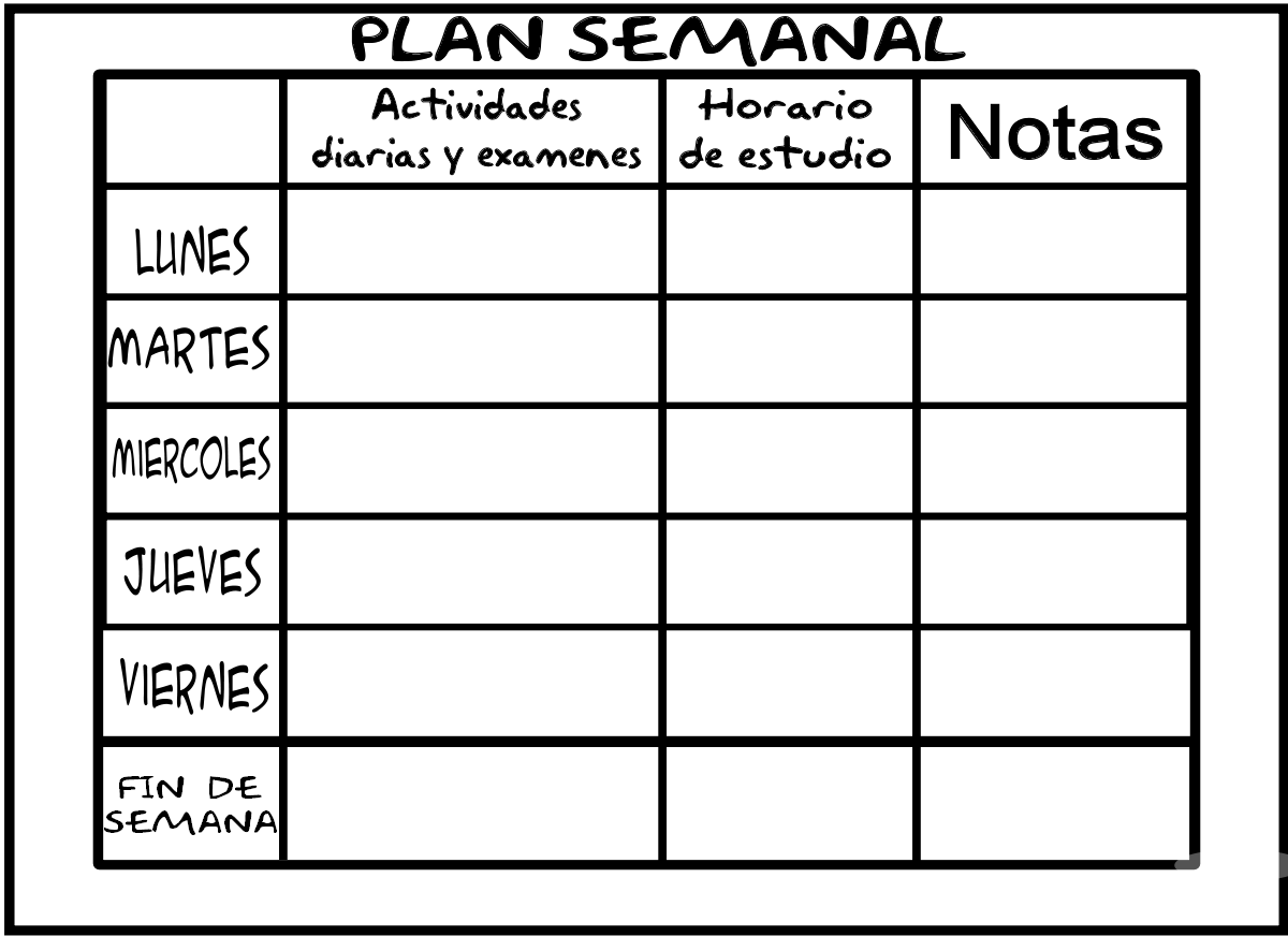 Planificadores semanal para alumnos y profesores for Horario de oficina de empleo