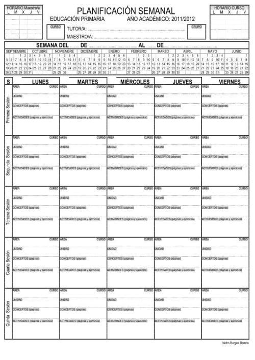 Planificadores semanal para Alumnos y Profesores -Orientacion Andujar