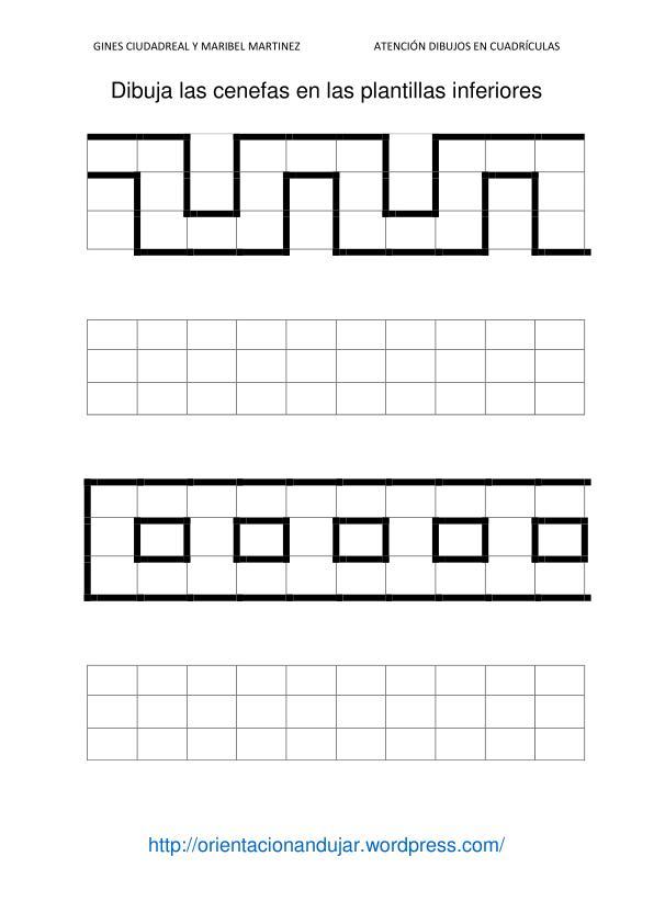 Fichas de Atención; Dibujamos en cuadrículas cenefas