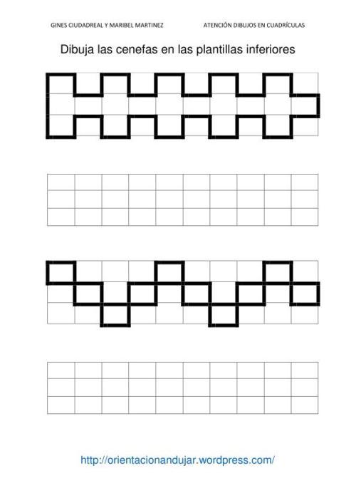 Fichas de atenci n dibujamos en cuadr culas cenefas - Cenefas de papel infantiles ...