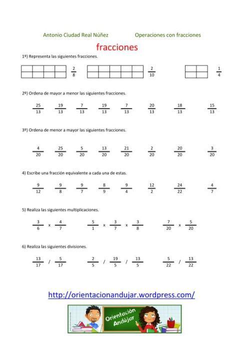 Colección De 200 Fichas Para Trabajar Las Fracciones Orientacion Andujar