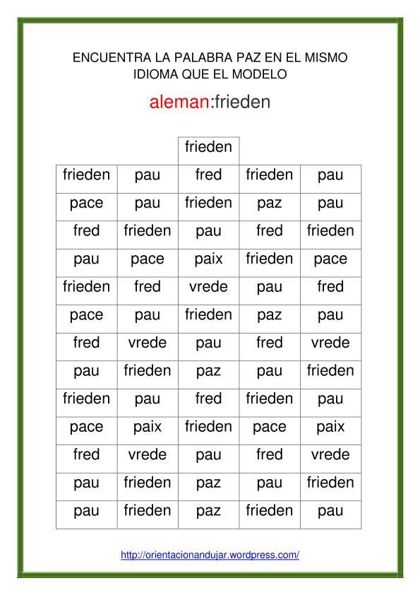 Trabajamos La Atención Con La Paz En 30 Idiomas Editable Planeta Escuela Tic 2 0