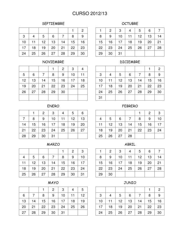 Calendario 2013 En Word