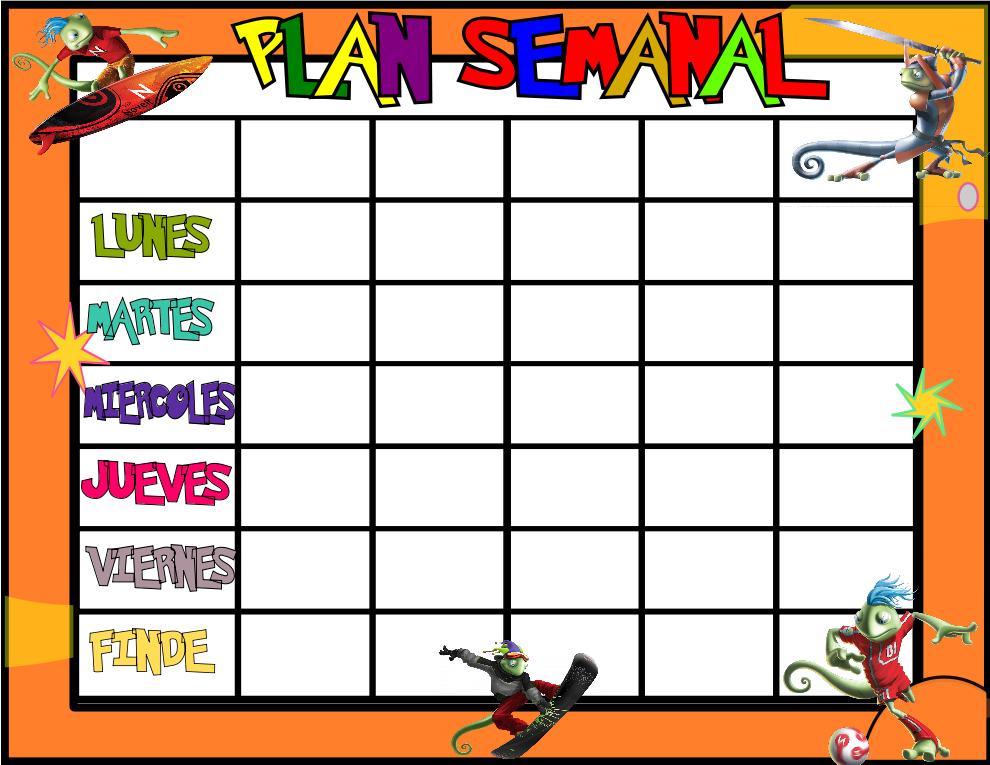 Planificadores semanales divertidos para Alumnos y formales para
